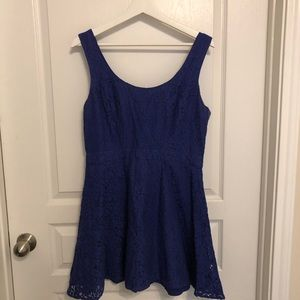 Blue lace-detailed tie-back dress